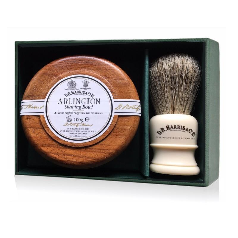 Savon à raser bol bois effet acajou + Blaireau poils naturels